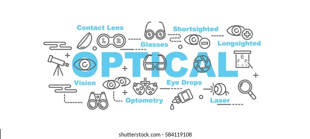 optical vector banner design concept, flat style with thin line art icons on white background