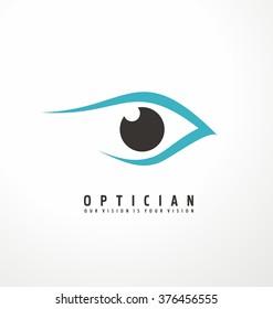 Optician creative symbol concept template. Eye vector logo design idea.