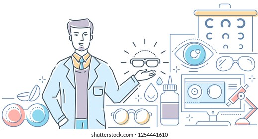 Optics - modern line design style colorful illustration on white background. A composition with a male worker presenting glasses, contact lenses with accessories, chart, microscope. Eye care concept