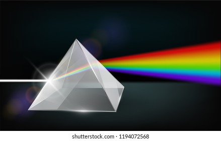 Optics physics. White light through Clear glass pyramid Refraction of light Colorful rainbow. Vector illustrations EPS10