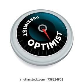 An optimist over pessimist dial meter odometer concept illustration isolated on white. Vector EPS 10 available.
