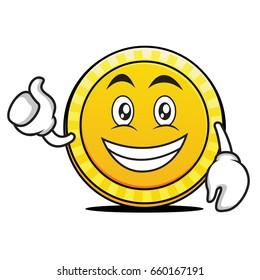 Optimistic coin cartoon character style vector illustration