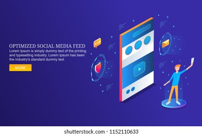 Optimizing social media post, content sharing on social sites flat 3D isometric banner isolated on blue backgorund
