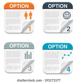 Option Backgrounds with Folding Paper Corner - Set of four option backgrounds with infographic icons and folding paper corner.  Isolated on white background.  Eps10 file with transparency.