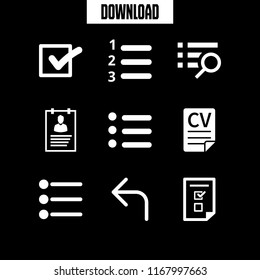 option icon. 9 option vector set. turn left, check mark, application form and list icons for web and design about option theme