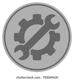 Optional Gear silver coin icon. Vector style is a silver grey flat coin symbol.
