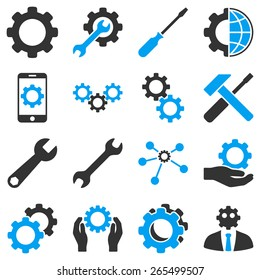 Options and tools icon set. These bicolor icons use modern corporate light blue and gray colors, white color is not used in the symbols.