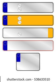 Options for vehicle license plates. Vector illustration.