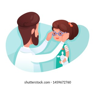 Optometrist giving girl glasses flat illustration. Little kid and optician choosing glasses cartoon characters. Eye sight and vision therapy isolated clip art. Ophthalmology clinic visiting