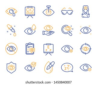 Optometry, Eye doctor line icons. Medical laser surgery, glasses and eyedropper. Pink eye, Cataract surgery and allergy icons. Vision exam problem, optician board, oculist chart. Vector