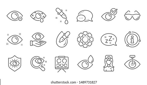 Optometry, Eye doctor line icons. Medical laser surgery, glasses and eyedropper. Pink eye, Cataract surgery and allergy icons. Optician board, oculist chart. Linear set. Quality line set. Vector