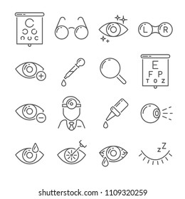 Optometry eyes health and oculist tools. Medical laser eye surgery, eyedropper, eyeball, eyesight ophthalmic lenses or glasses isolated simple black line icons set vector illustration