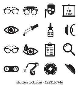 Optometry Icons. Black Flat Design. Vector Illustration.