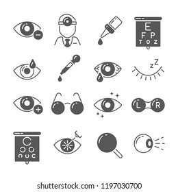 Optometry icons. Eye and glasses, vision and lens, laser surgery signs. Ophthalmology eyes treatment exam, surgery tools and ophthalmoscope medical concept vector isolated symbols set
