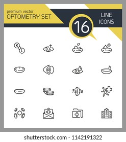 Optometry icons. Set of line icons. Contact lens, clinic, lens care. Eye sight concept. Vector illustration can be used for topics like vision, health care, ophthalmology.