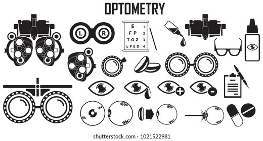 Optometry Icons Set, Simple Optometry Related Vector