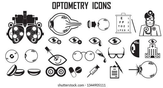 optometry icons vector.