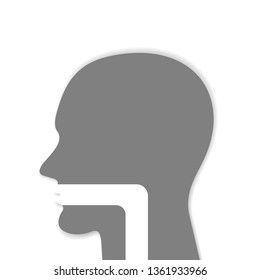 oral cavity, pharynx and esophagus glyph icon. upper section of alimentary canal. silhouette symbol. paper graphic vector illustration