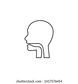 Oral cavity, pharynx and esophagus glyph icon. Upper section of alimentary canal. Silhouette line symbol. Negative space. Vector isolated illustration