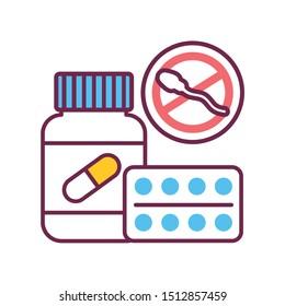 Oral contraceptive medicine in a jar color line icon. Women contraceptive hormonal birth control pills. Safety sex sign. Pictogram for web page, mobile app. UI/UX/GUI design element. Editable stroke.