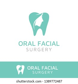 Oral Facial logo design, dentist dental tooth teeth shape and silhouette of beauty woman face.