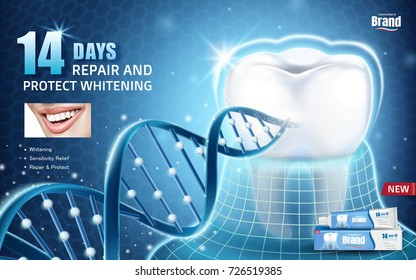 Oral health ads, toothpaste product ad with tooth protected by invisible coat with glitter dna structure in 3d illustration