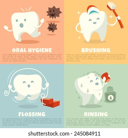 Oral hygiene banners with cute tooth. Part 1. Brushing, flossing and rinsing. Vector illustration.