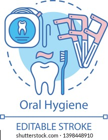 Oral hygiene concept icon. Tooth decay prevention. Dental floss, holder, toothpaste, toothbrush. Daily teeth care idea thin line illustration. Vector isolated outline drawing. Editable stroke