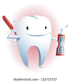 Oral hygiene A cute smiling tooth is scrubbing its back with a toothbrush and toothpaste.