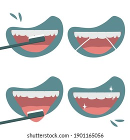 Oral hygiene and dental procedures concept. How to brush teeth correctly. Brushing teeth and tongue with toothbrush and dental floss.  Oral hygiene and dental procedures concept. Set of vector illustr