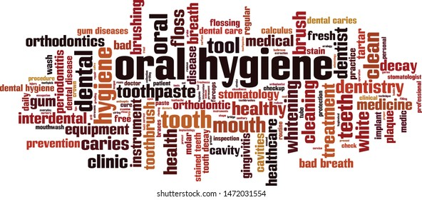 Oral hygiene word cloud concept. Collage made of words about oral hygiene. Vector illustration