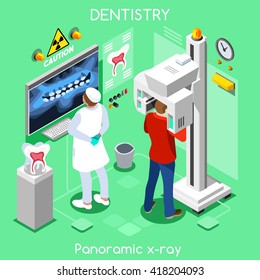 Oral Radiology Imaging dental panoramic teeth x ray radiography dental center dentist & patient doctor. 3D isometric people oral care dentistry clinic room dental imaging visit vector illustration.