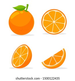 Orang fruit. Oranges that are segmented on a white background.