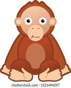 orang utan cute cartoon vector suitable for children book, education, kindergarten etc
