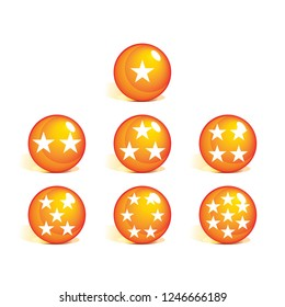 Orange 3D ball vector design with star ornaments. realistic 3d crystal ball