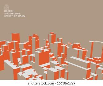 orange 3D cube structure style overlook city