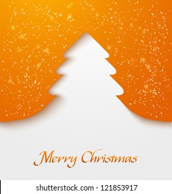 Orange abstract christmas tree applique with snow particles. Vector illustration