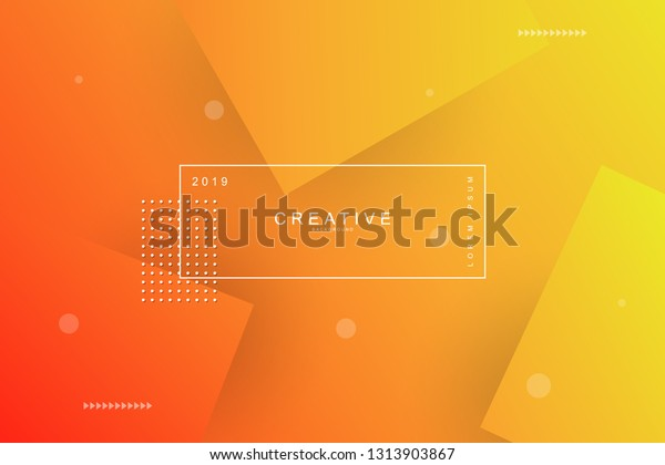 Orange Abstract Cool Background Square Shape Stock Vector