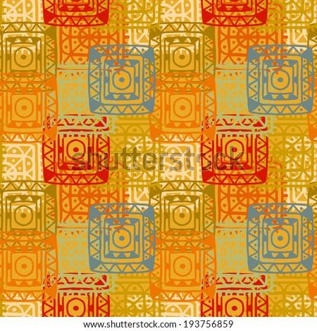 376ffc6fdf0c4 Orange abstract decorative ethnic seamless pattern. Aztec ornament. Tribal  art. Lace. Folk