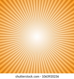 Orange abstract geometrical sunray background - retro vector graphic design from radial stripes