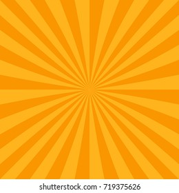 Orange abstract sun burst background from radial stripes - vector graphic