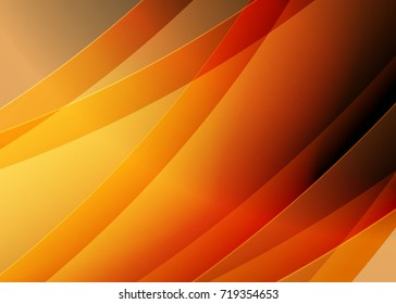 Orange abstract template for card or banner. Metal Background with waves and reflections. Business background, silver, illustration. Illustration of abstract background with a metallic element
