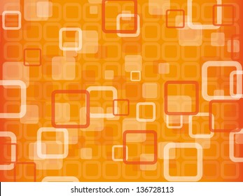 Orange abstract vector background with squares