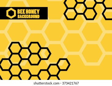 Orange abstract vector honey background - vector illustration. pattern hexagons grey with structure of honeycomb and space to write your own text. Template with place for logo or business card