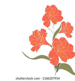 The orange alstroemeria elegant card. A spring decorative bouquet. Small floral garland. Vector illustration.