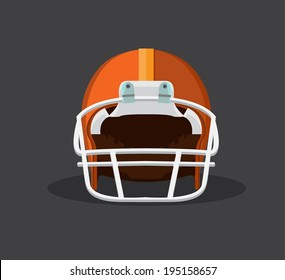 orange American football helmet isolated on a white background with detailed clipping  path.