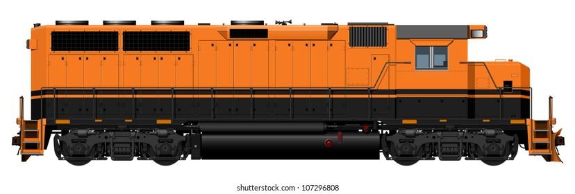 the orange American Locomotive