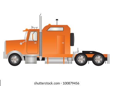 An Orange American Style Tractor Unit with Sleeper Cab  isolated on White
