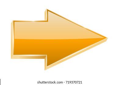 Orange arrow. 3d shiny icon. Vector illustration isolated on white background