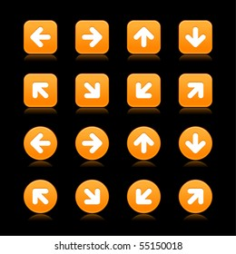 Orange arrow sign web 2.0 internet button. Smooth round and square shapes with reflection on black background